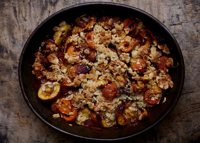 Roast stone fruit with almond and orange flower crumb recipe
