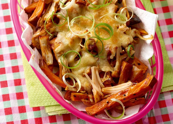 Jackfruit loaded sweet potato fries recipe