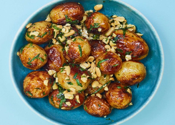 Barbecued potatoes with tarragon, peanuts and chipotle recipe