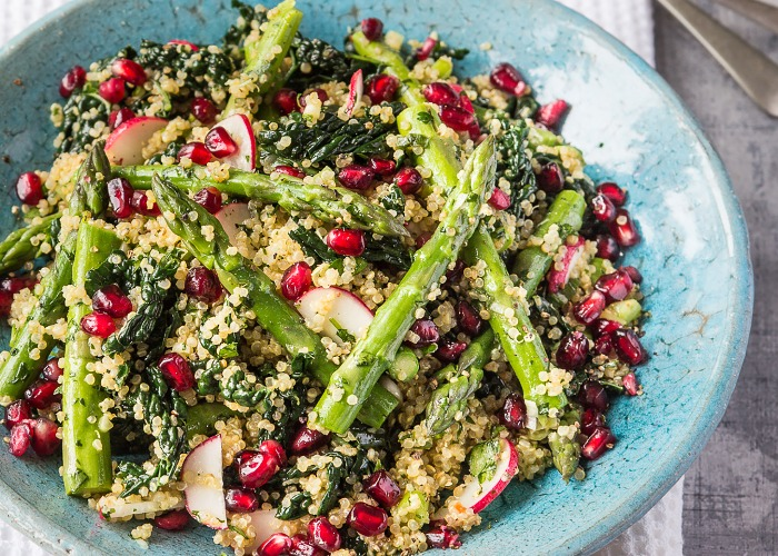 Quinoa salad with asparagus and kale recipe