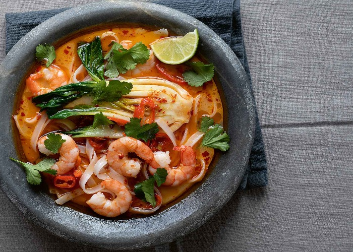 Prawn laksa with rice noodles recipe