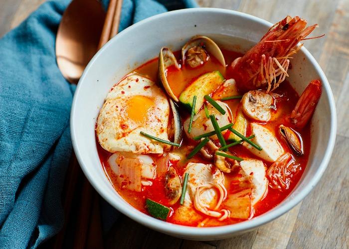 Seafood silken tofu soup