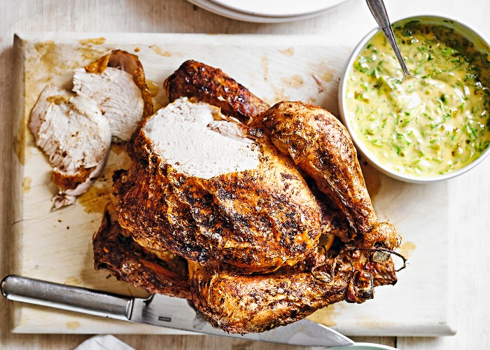 Roast chicken with ginger mayonnaise
