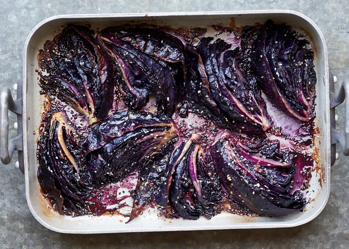 Sesame miso roasted red cabbage recipe