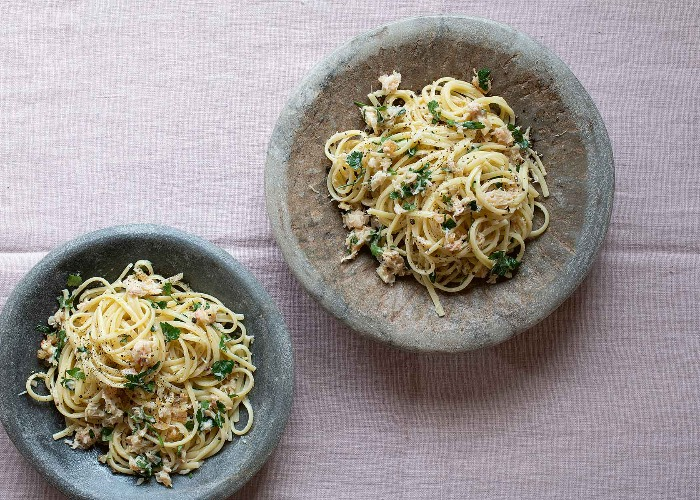 Ginger and preserved lemon crab spaghetti recipe