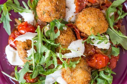 Wild mushroom arancini with a roast cherry tomato ragu recipe