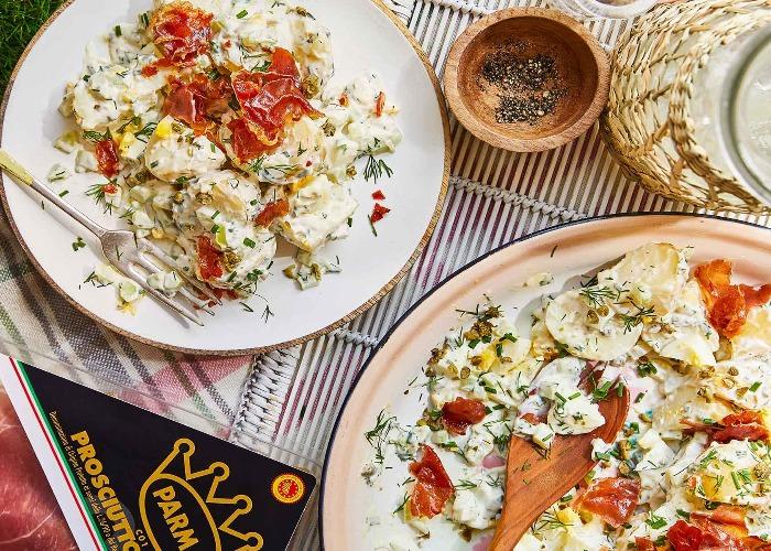 Potato salad with crispy Parma Ham recipe