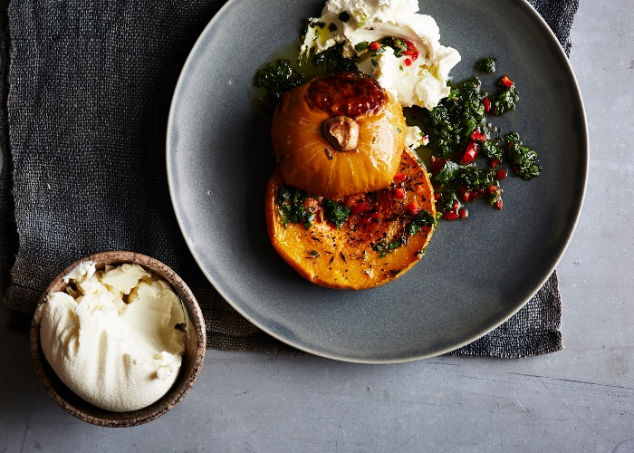 Butternut squash salad with labneh and chilli recipe