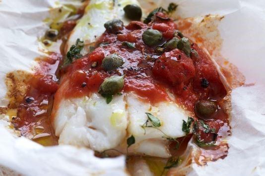 Italian barbecued fish with tomato sauce recipe