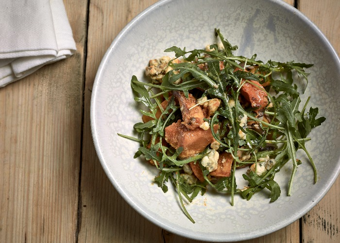 Warm butternut squash salad with blue cheese and pan-fried mushrooms recipe