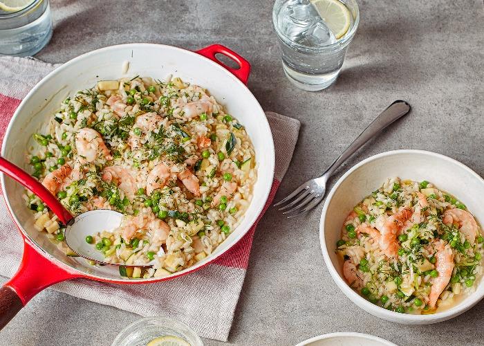 Prawn, pea and courgette risotto recipe
