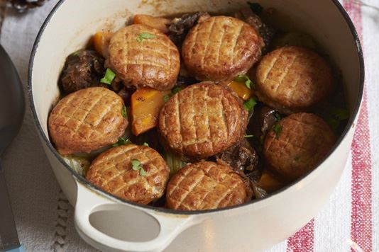 Ale-braised ox cheek stew with cheddar cobblers recipe