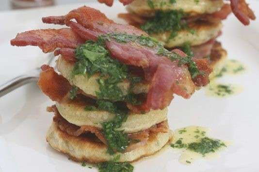 Crispy bacon with mushroom pancakes recipe