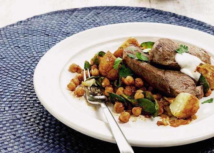 Grilled lamb steaks with chickpea curry recipe