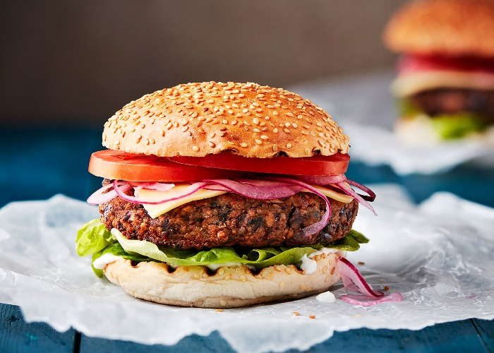 Vegan burger with plant-based mayonnaise and 'bacon' recipe