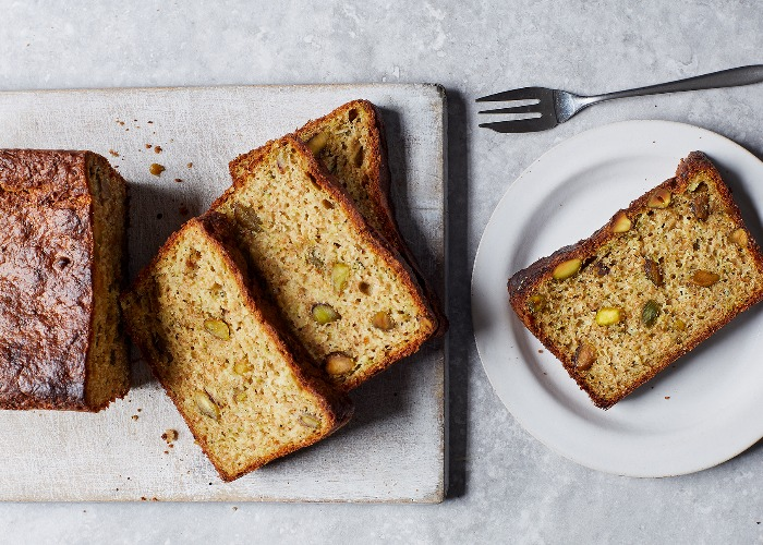 Courgette, pistachio and lime loaf cake recipe