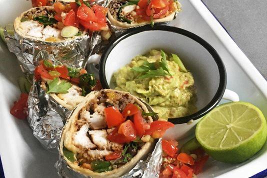 Charred chicken, quinoa and black bean burritos recipe