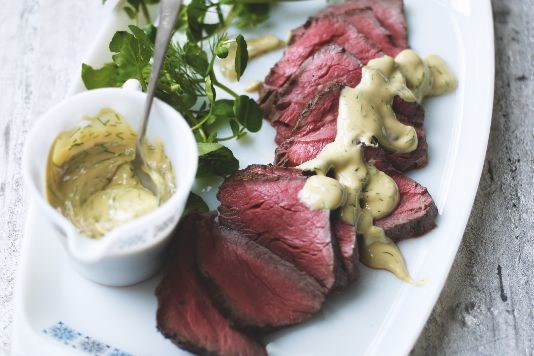 Cold rare roast beef with dill and mustard