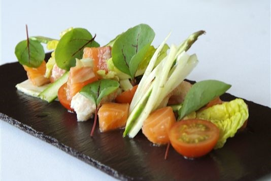 Cured salmon with crayfish, fennel and asparagus recipe