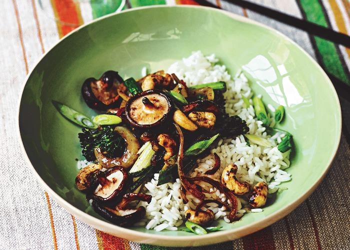 Shiitake & cashew black bean vegan stir-fry recipe