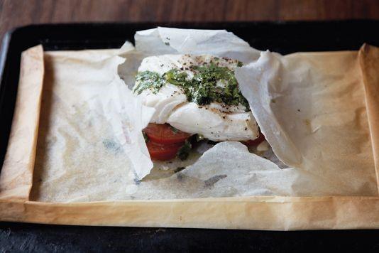 Cod, coriander, tomato & garlic parcels recipe