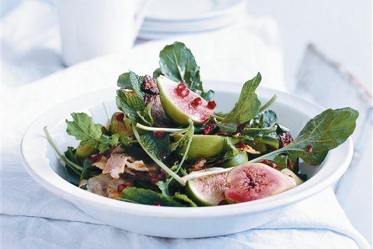 Donna Hay's halloumi, fig and pomegranate salad recipe