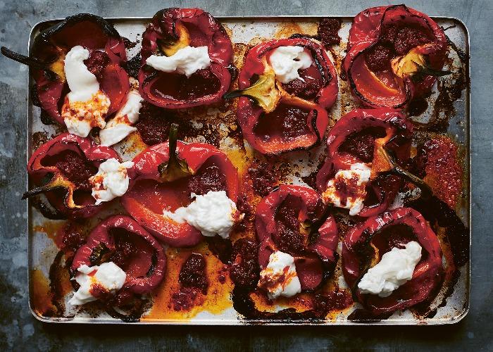 Roast peppers with burrata recipe