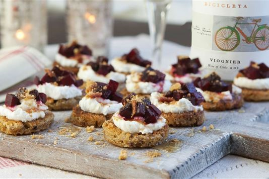Goat's curd crostini with honey roasted beetroot and honeycomb recipe