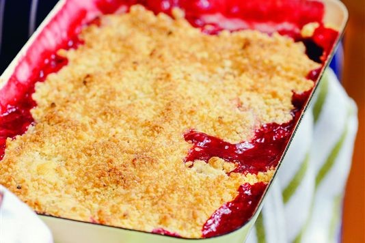 Spiced cranberry and apple crumble recipe
