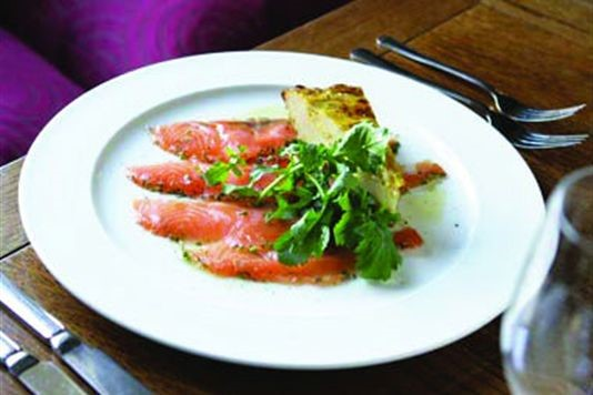 Sugar-cured salmon with potato tortilla recipe