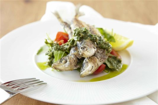 Grilled sardines with salsa verde recipe