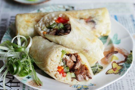 Hoisin roast duck rice rolls recipe