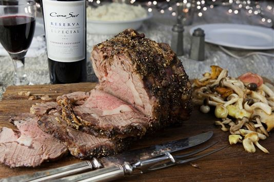 Roasted rib eye of beef with cracked black pepper recipe