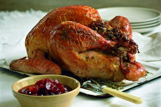 Roast Turkey With Traditional Stuffing And Cranberry Sauce Recipe
