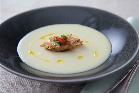 Herby potato soup with spiced crab fritter recipe