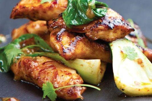 Sweet chilli chicken with garlic, lemon and coriander recipe