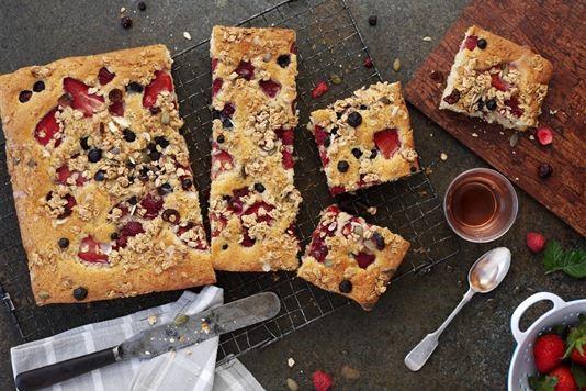 Edd Kimber's mixed berry traybake with rosehip syrup recipe