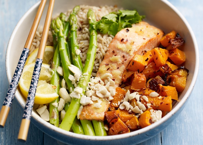 Asparagus, salmon and squash rice bowl recipe