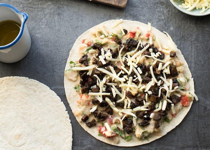 Smoked bean and mushroom quesadillas recipe