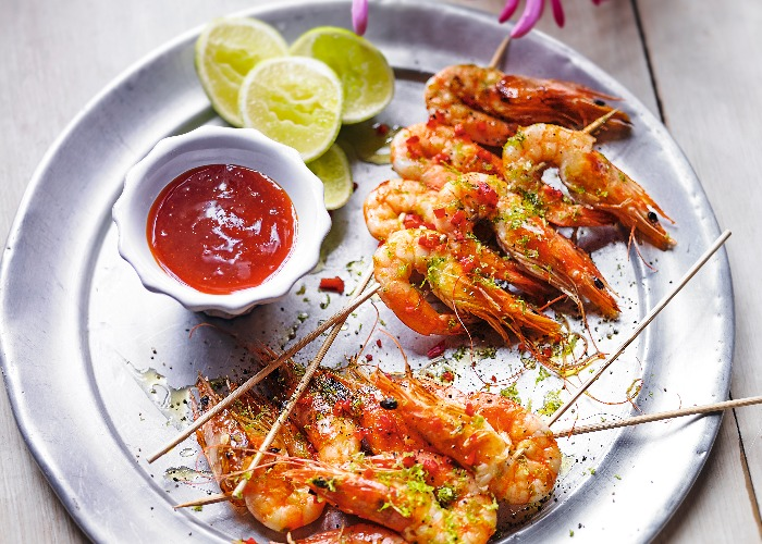 Barbecued lime and chilli tiger prawns recipe