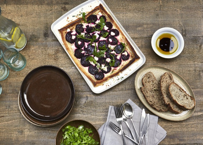 Beetroot, goat's cheese and thyme tart recipe