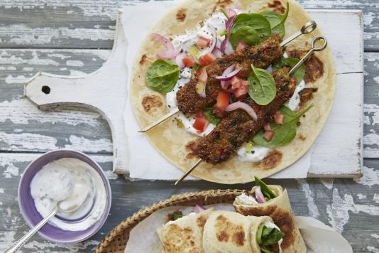 Grilled chickpea seekh kebab wraps recipe