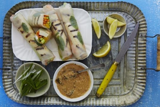 Grilled tofu and tangerine rolls with spicy peanut sauce recipe