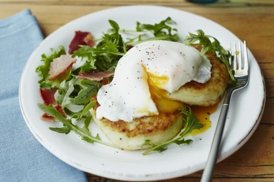 Champ cakes with poached eggs and bacon recipe