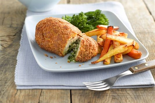Chicken kiev and root vegetable chips recipe