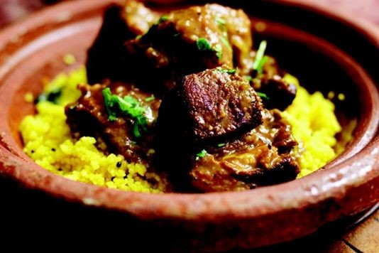 Lamb tagine with apricots and salted almonds recipe