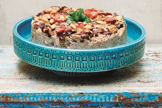 Makloubeh 'Upside down' spiced rice with lamb & aubergines recipe