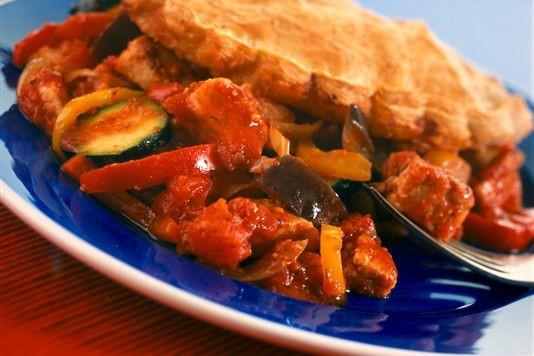 Mediterranean vegetable and Quorn puff pie recipe