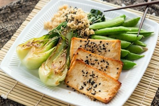 Ginger bok choy and sweet peas with miso-glazed tofu recipe