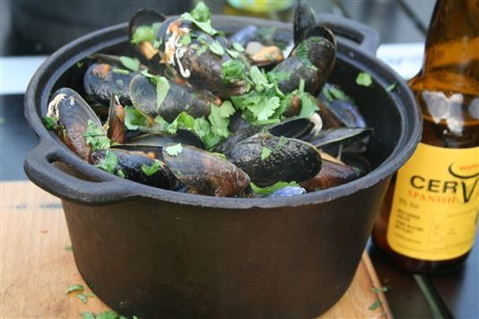 Mussels with beer and coriander recipe